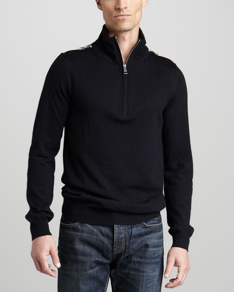 Half-Zip Wool Sweater, Black