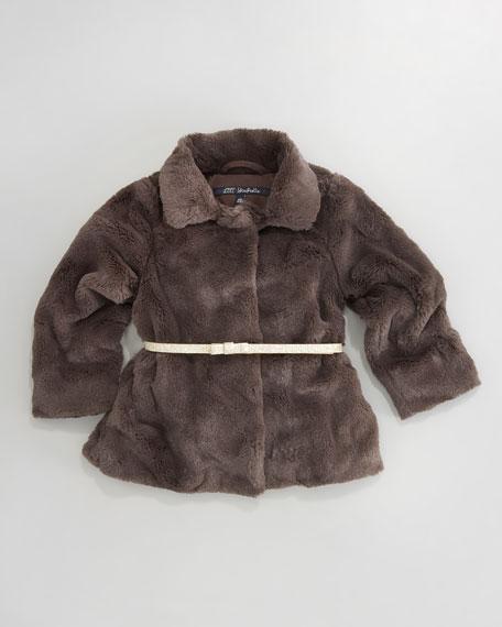 Larme Belted Faux-Fur Blazer, Sizes 2-6