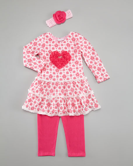 Mon Cherry Ruffle Dress with Leggings, Sizes 2T-4T