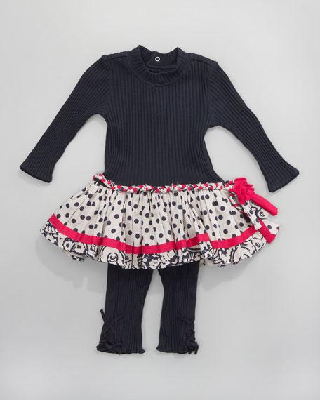 Dot-Skirt Ribbed Dress