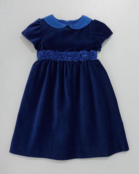 Velvet Rosette-Trim Dress, Sizes 2T-3T