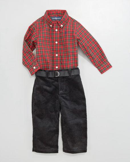 Plaid Shirt & Jodhpur Pants Set, 12-24 Months
