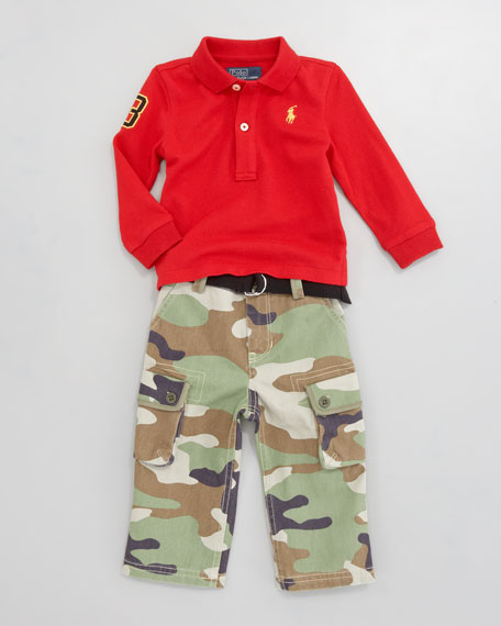 Polo and Camouflage Pants Set, 12-24 Months