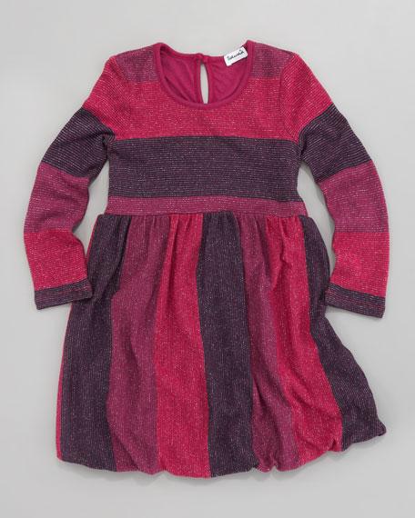Shimmer-Stripe Bubble Dress, Sizes 2T-4T