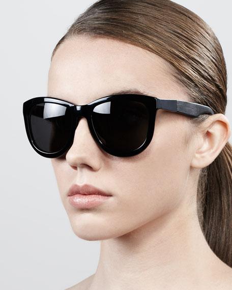 Leather-Arm Classic Sunglasses, Light Tortoise/Cream