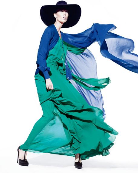 Long-Sleeve Tassel-Tie Peasant Gown