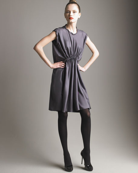 Drawstring Silk Dress