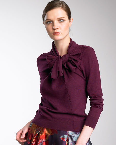 Tie-Neck Wool Sweater, Mulberry