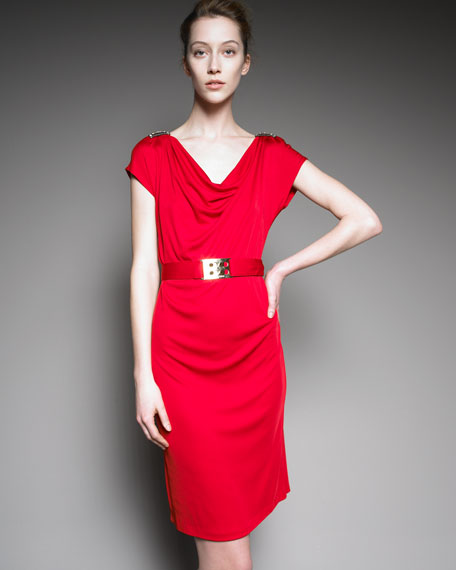 Belted Cowl-Neck Jersey Dress