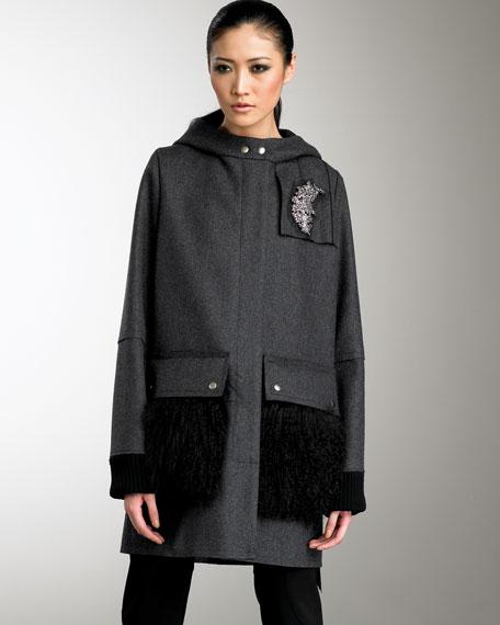 Hooded Lamb-Pocket Coat