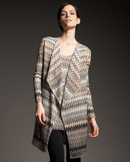 Zigzag-Knit Open Cardigan