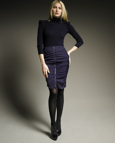Burberry London Roll-Neck Knit & Zip-Front Ruched Skirt