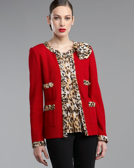Leopard-Trim Jacket