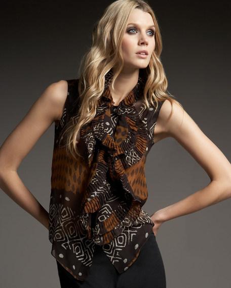 Tribal-Print Chiffon Blouse, Brown/Black