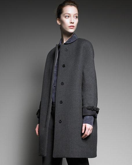 Embellished-Cuff Wool Coat