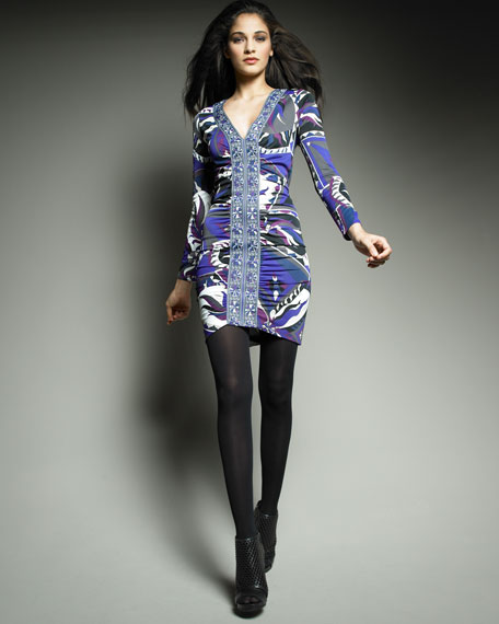 Icon-Print Ruched Jersey Dress