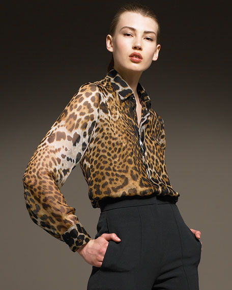 Yves Saint Laurent Leopard Blouse