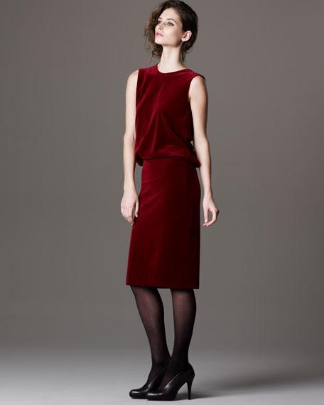 Cowl-Back Velvet Dress