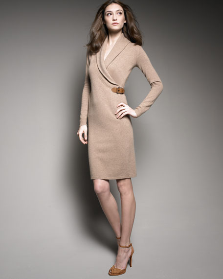 Sweater Dress with Leather Buckle