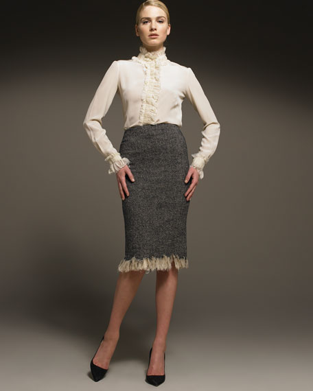 Raw-Edge Tweed Pencil Skirt