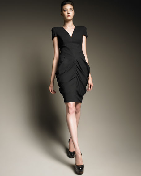 Ruched Hip Cap-Sleeve Dress