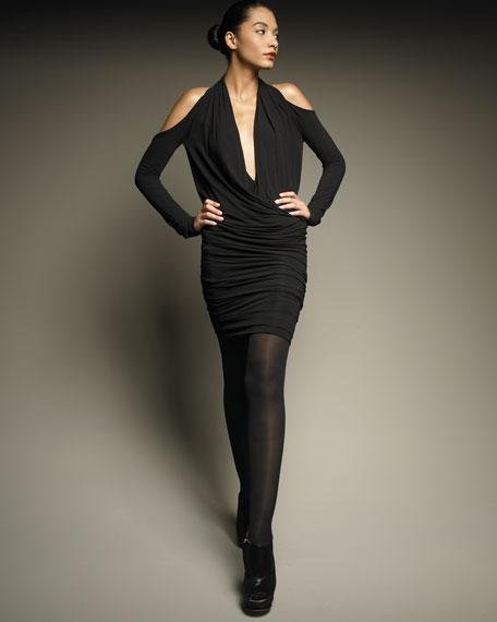 Cold-Shoulder Cross-Front Dress