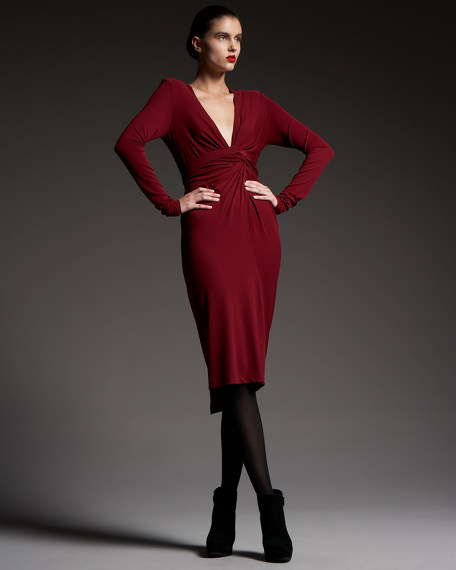 Long-Sleeve Plunge Infinity Dress