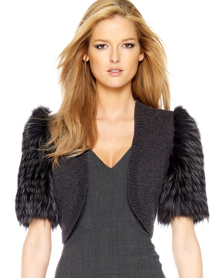 Fur-Sleeve Shrug