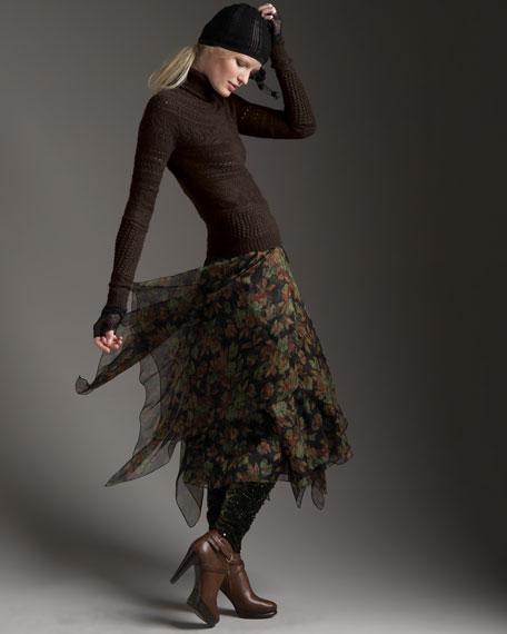 Kentra Long Floral-Print Skirt