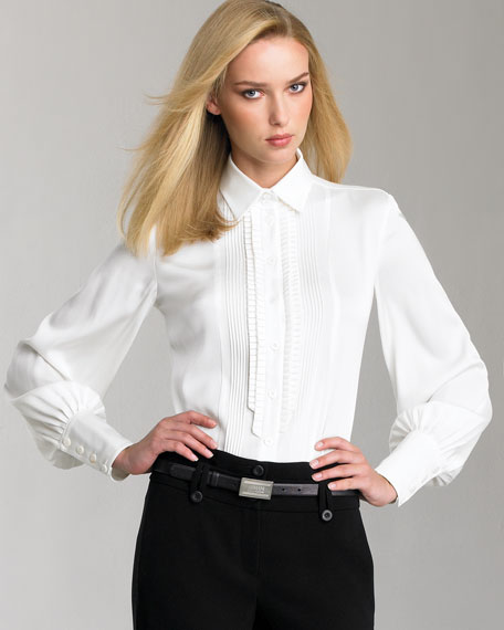 Stretch Satin Pintucked Blouse