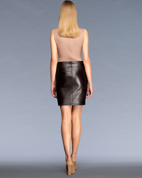 Leather Skirt with Metal GG Detail