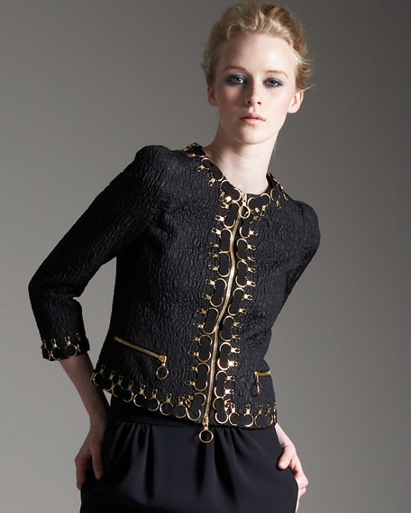 Embroidered Cloque Jacket