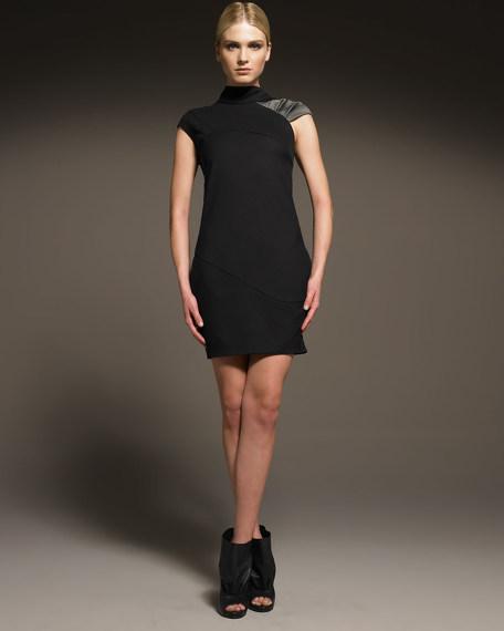 Cap-Sleeve Wool Shift Dress