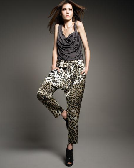 Leopard-Print Georgette Harem Pants