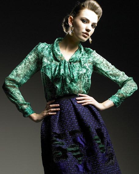 Fern-Print Silk Blouse