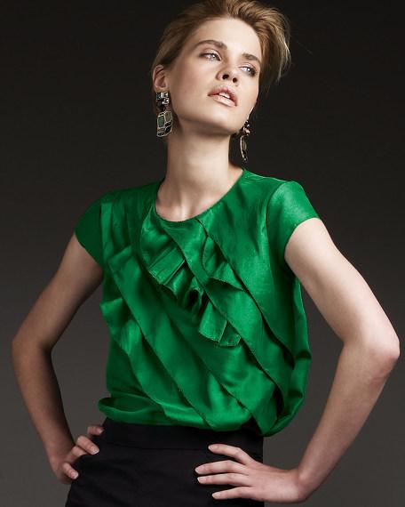 Diagonal-Ruffle Silk Blouse