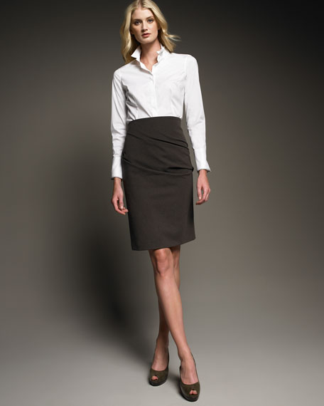 Ruched Straight Skirt