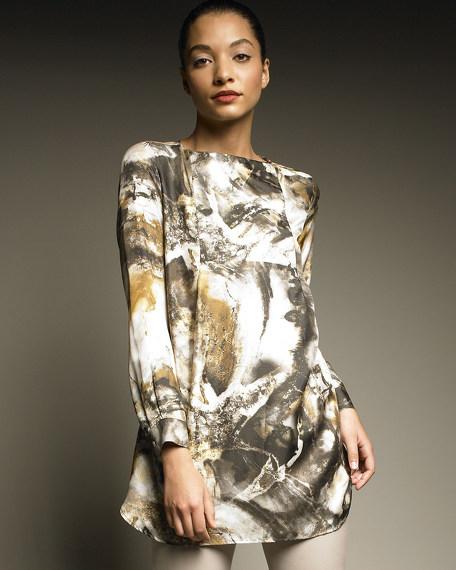 Marble-Print Silk Tunic