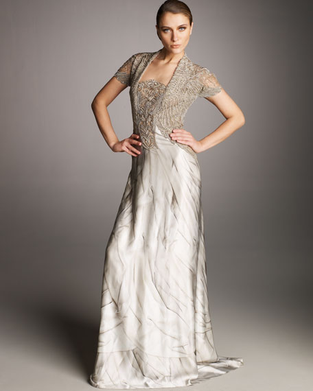Angel-Print Embroidered Gown