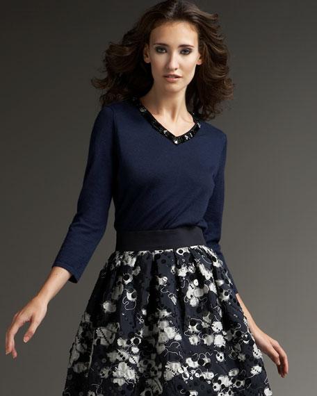 Jeweled Satin Sweater