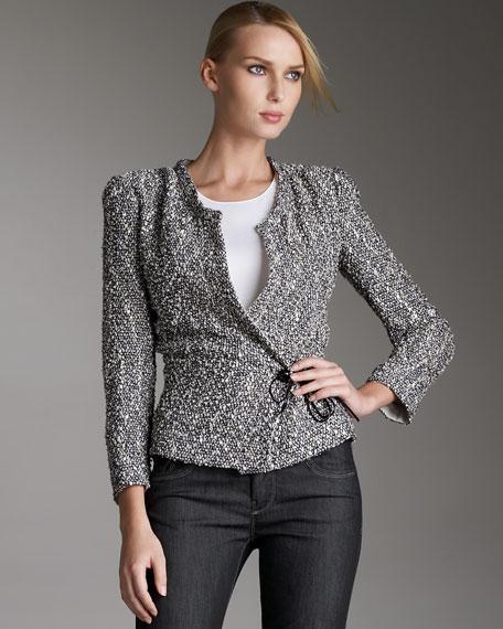 Tweed Side-Tie Wrap Jacket