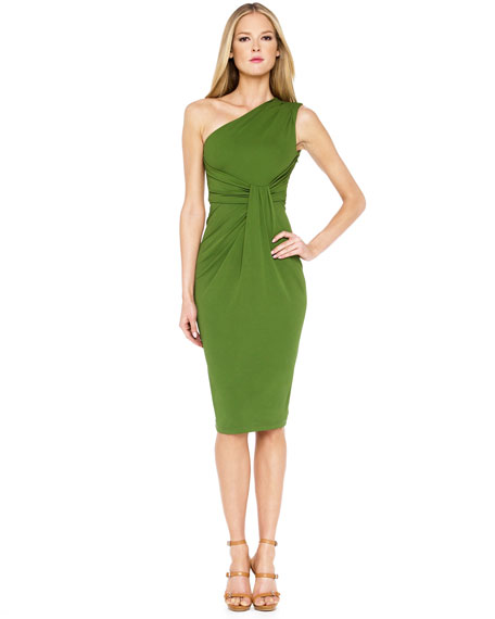 One-Shoulder Jersey Drape Dress