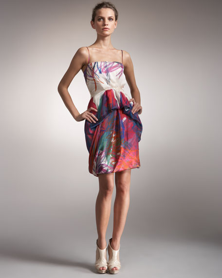Printed Pickup-Skirt Dress