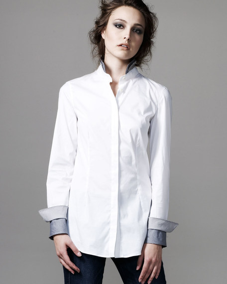 Tiered Stand-Collar Blouse