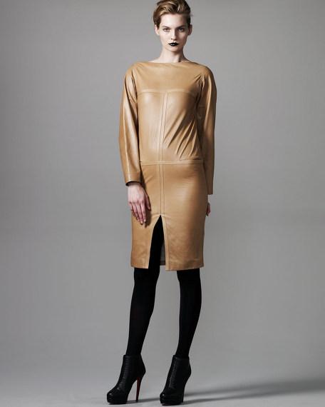 Leather Bateau-Neck Dress