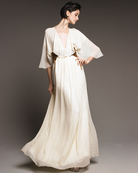Pearl-Waist Chiffon Gown