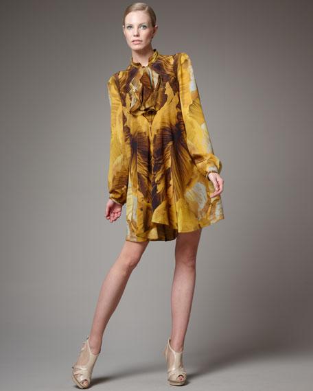 Printed Ruffle-Front Shirtdress