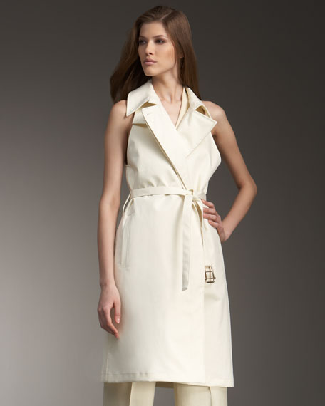 Belted Sleeveless Trench