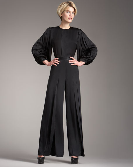 Slit-Front Pleated Pants
