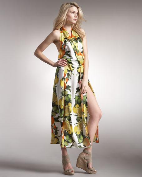 Front-Slit Halter Dress